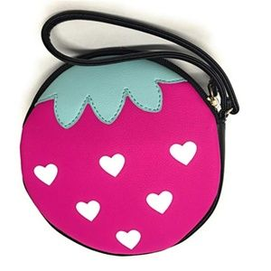 Luv Betsey Strawberry Zip Around Wallet Coin Purse
